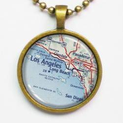 Personalized Necklace, Los Angeles Map -Los Angeles Map -States, United States, Map Pendant Series